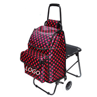 Custom Print Stair Climbing Wheeled Portable Foldable Shopping Trolley Bag With Seat Chair