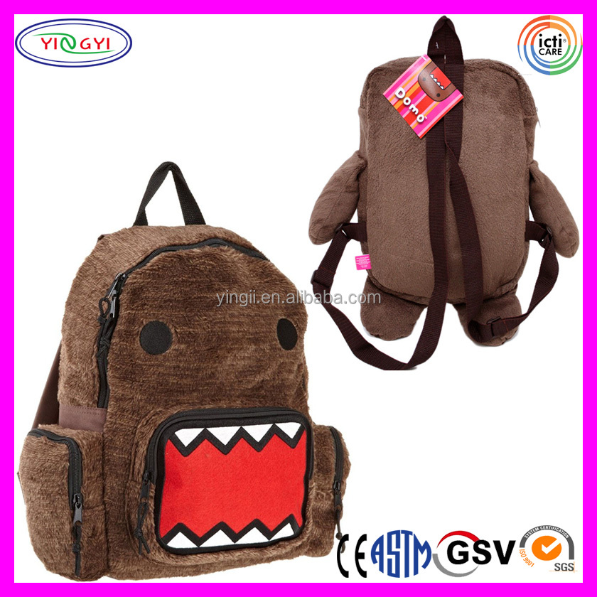B307 Plush Big Face Backpack Domo Brown Furry Backpack with Many Pockets