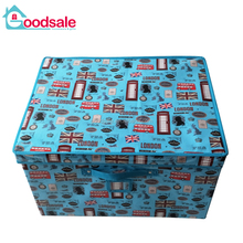 Large oversize warehouse foldable clothes storage box collapsible coated non-woven fabric storage box with lids