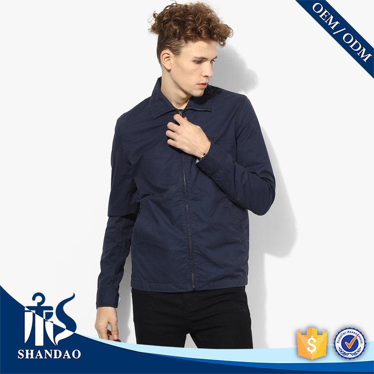 Guangzhou Shandao OEM Autumn Concise Long Sleeve Collar Neck Navy Blue Casual Jacket Imported from China