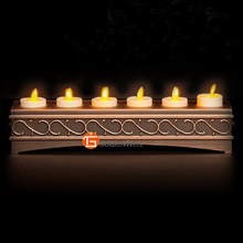 Set of 6 1.5*5 Inch Flameless and Rechargeable LED Wedding Votive Candle with Charger Holder