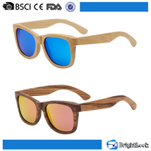 Newest model blue mirror lens true color wood sunglasses polarized