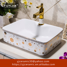simple style counter tops ceramic washbasin/ color wash basin