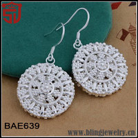 World Trendy Customized Round Dazzling Sterling Silver 925 Earrings from Brazil