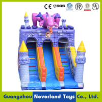 Best Quality NEVERLAND TOYS Violet Dinosaur Inflatable Slide Funny Inflatable Bouncer Slide Giant Inflatable Slide For Sale