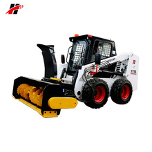 small skid steer mounted leaf sweeper snow blower attachment