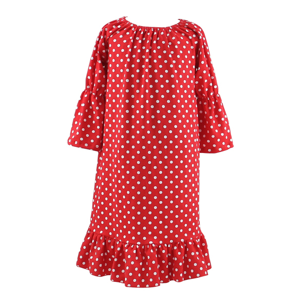 Wholesale Red Polka Dots Xmas Ruffle Long Sleeved Maxi Dresses Fancy Costumes Night Gown Girls Baby Boutique Christmas Kid Dress
