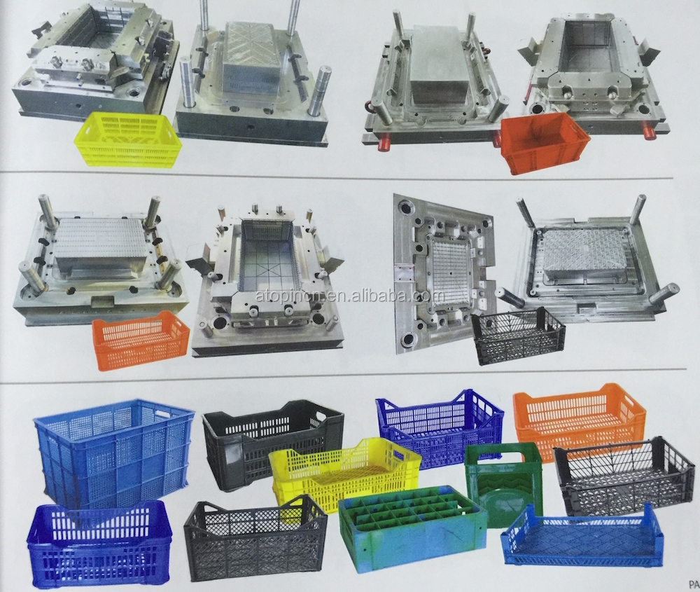 Atop plastic injection mould for fish crate mould