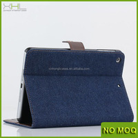 2014 New Retro Jeans Cloth PU leather Stand Wallet Case Cover For ipad mini 2, case for tablet