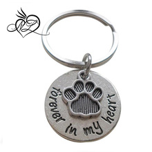 Forever in My Heart Keychain with Paw Charm, Pet Memorial Keychain