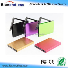 screwless hdd caddy 9.5mm aluminum hard drive case usb2.0 sata 2.5 hdd caddy