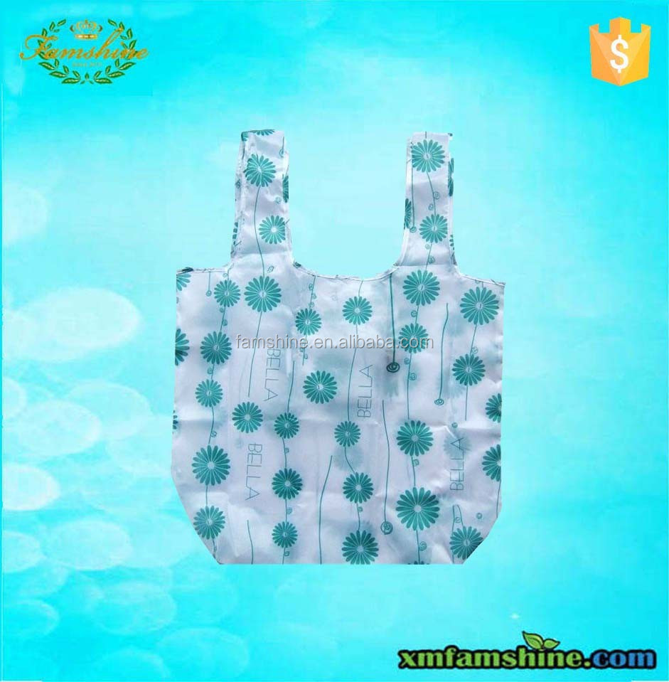 promotional 210d fold up polyester bag/foldable shopping bag