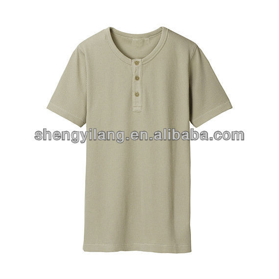 Men's Waffle cotton Henley t shirt short sleeve / skin tight mens short sleeve t shirt T12763