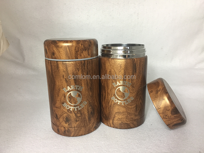Eco-friendly Personalized Wooden Grain Thermos Food Jar Lunch Box