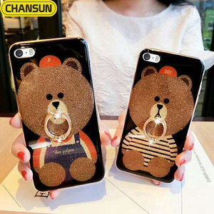 Fashion lovely bear tpu cover bling ring holder phone case for iphone 8
