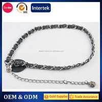 new design ladies fashion chain belt with pu strap inserted