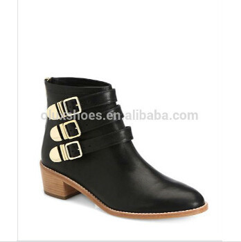 Babela Three Buckles Tight Low Heel Leather Upper Safety Cow Boy Woman Shoes