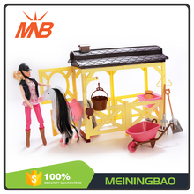 Chinese alibaba best seller 11 inch moving joints dolls for kids with horse house