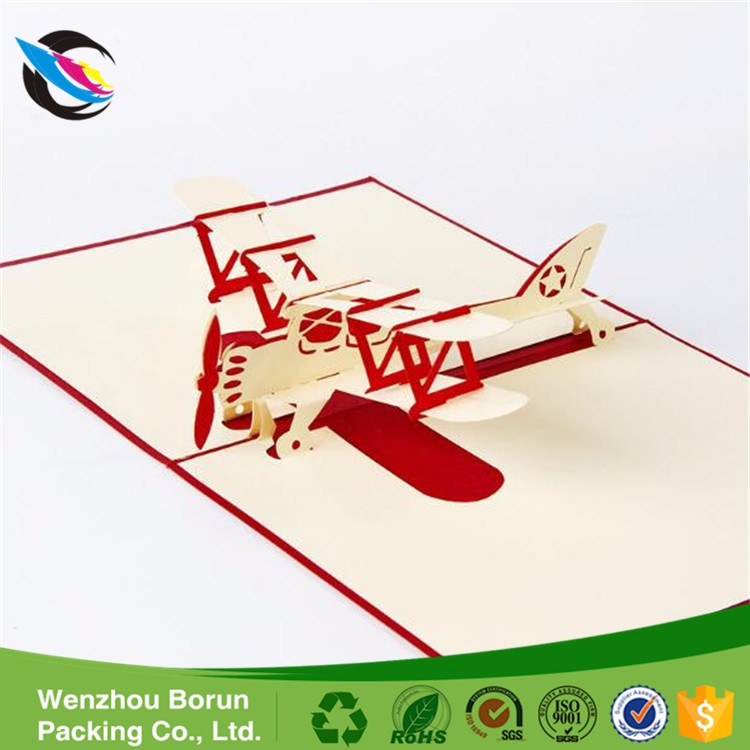 Borun New Easter Day 3D Pop Airplane Handmade Best Wish Greeting Card Kirigami Gift