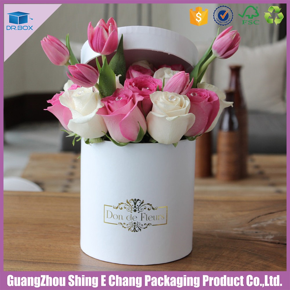 Round white paper tube flower shipping boxes flower for Cardboard tube flowers
