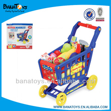 Kids supermarket shopping trolley with different toys