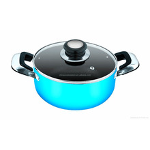 New Design and colorful aluminum cookware with tempered glass lid