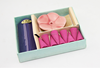 aroma incence gift/ cardboard gift box /1 sheave of incense sticks / Flower shape ceramic holder