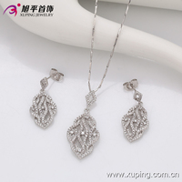 63382 Xuping Fashion 2 Pieces Earring and Necklace Diamond Set, Rhodium Plated White Color Jewelry Set