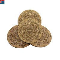 Factory supply wholesale super quality custom absorbent wood cork coasters