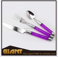 Hot sell colorful plastic handle flatware & cutlery with spoon fork knife