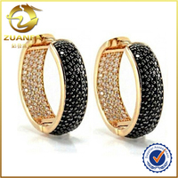 hot sale gold plated two tone wide band cz paved men women large hoop earrings