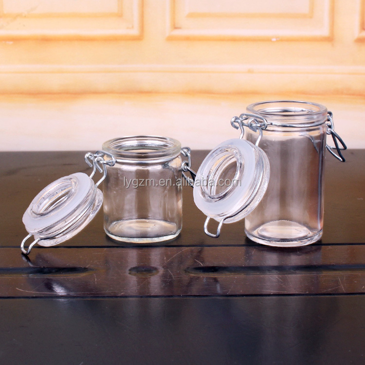 55ml 70ml glass jar with glass clip lid for jam and honey