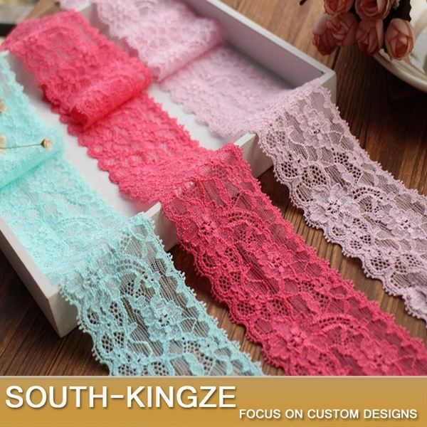 5.3cm Stretch Embroidered Lace Fabric Trim Elastic Ribbon For DIY Sewing 10 meters 3 Colors For SelectionSSHB