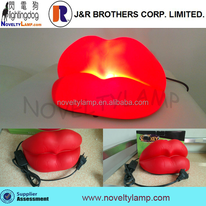 big size decoration lamp red lips night light
