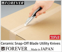 Paper cutter knife with ceramic blade, snap-off to provide fresh, sharp cutting points, made in Japan