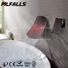 Oil-rubbed bronze wall mounted two holes single handle widespread Waterfall basin faucet