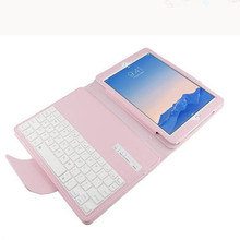 Pink Bluetooth Keyboard PU Leather Cover For Ipad Air 2