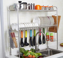 2 Tier 304 Stainless Steel Dish Drying Rack Over the Sink Storage Organizer