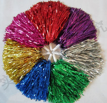 party supplier fluffy many colors cheerleading shiny Polyethylene Metallic Membrane pom poms for promotion HAL-0166