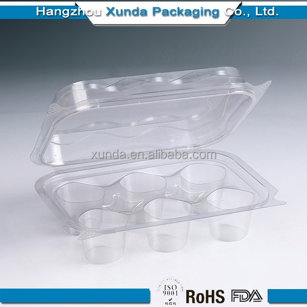 6 cupcake plastic transparent cake box