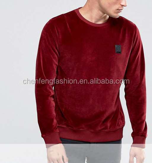 Soft Velour And Ribbed Trims Embroidered Logo Sweatshirt Fashion