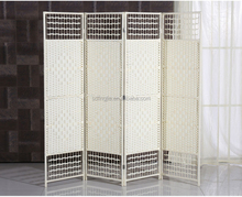 4 Panels White Paper Rope Wooden Indoor Decor Folding Screens Wall Divider