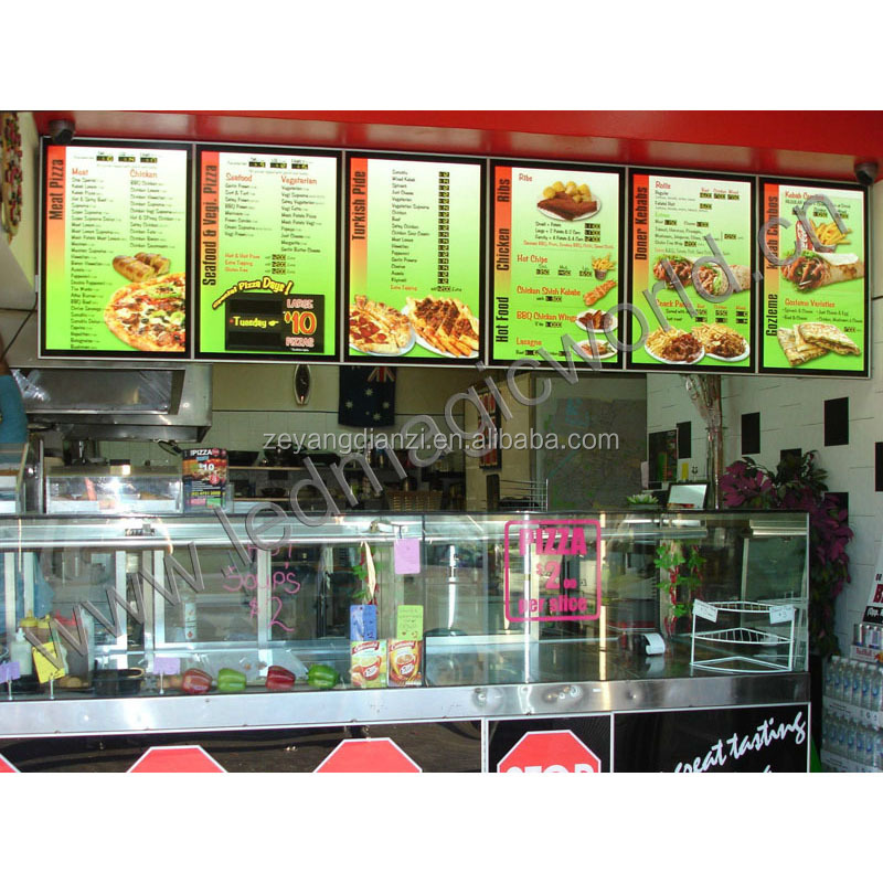 2017 New Holographic Film LED light board Restaurant Advertising Display