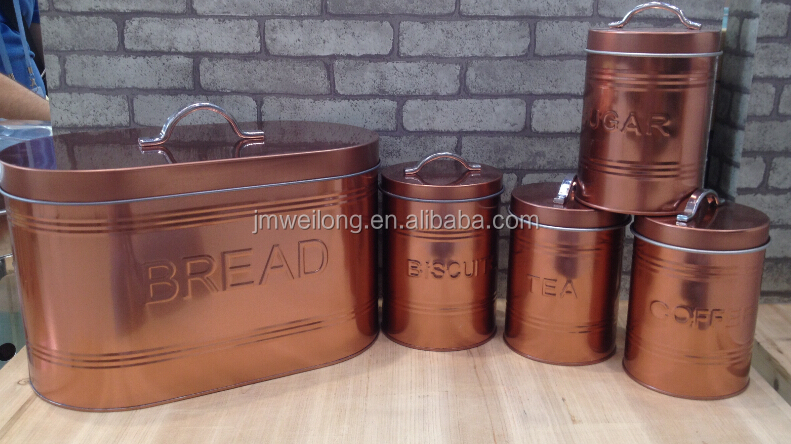 Set of 5 Rose Gold Metal Bread Bin Sugar Coffee Tea Biscuits Storage Canisters
