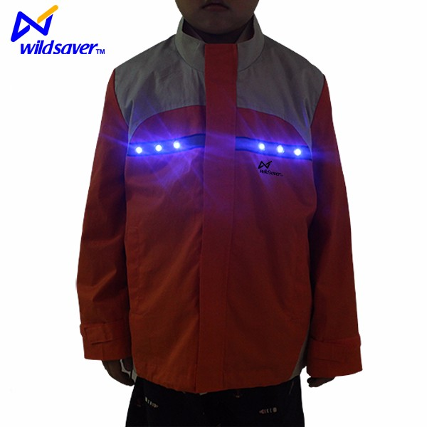 Boys fancy reflective winter jackets kid cotton jacket with led