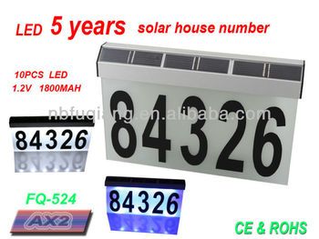 FQ-536-1 Aluminum solar address light, large size, available for 5 numbers, two color choice of LED, solar house number light