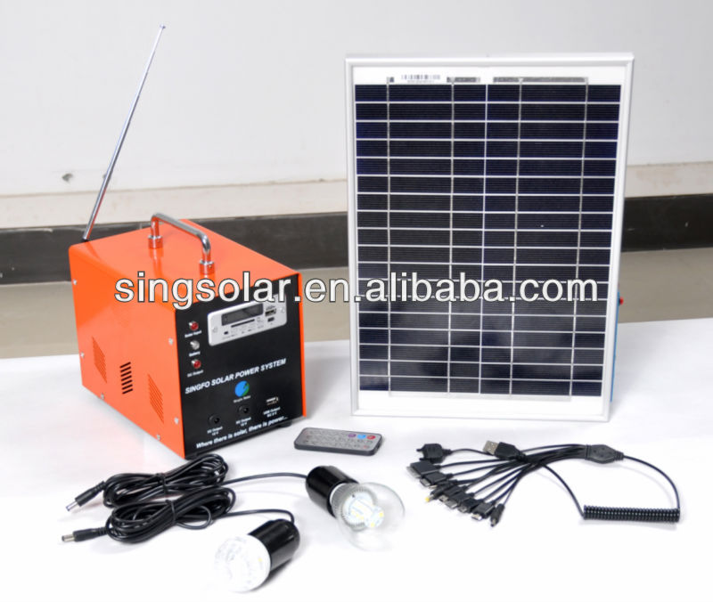 OEM 30w portable small home used solar system with mobile phone charger