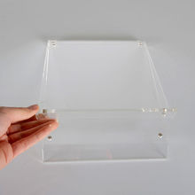 stable and elegant acrylic plastic A3,A4,A5 images holder with slayed foot