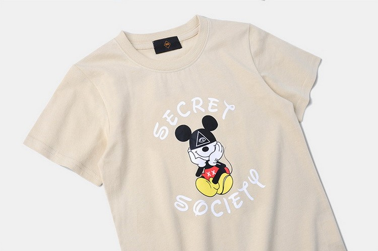 ins Summer new hip - hop cute mickey black sand color cotton soft men and women children 's wear t - shirt