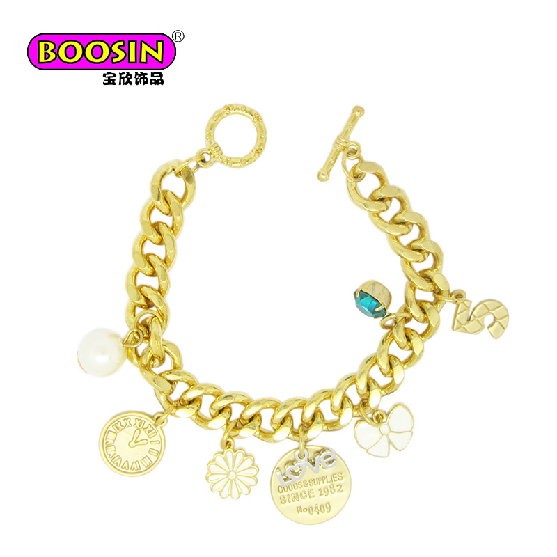 Online Buy DIY Fashion Gold bracelet with charms jewelry design for girls